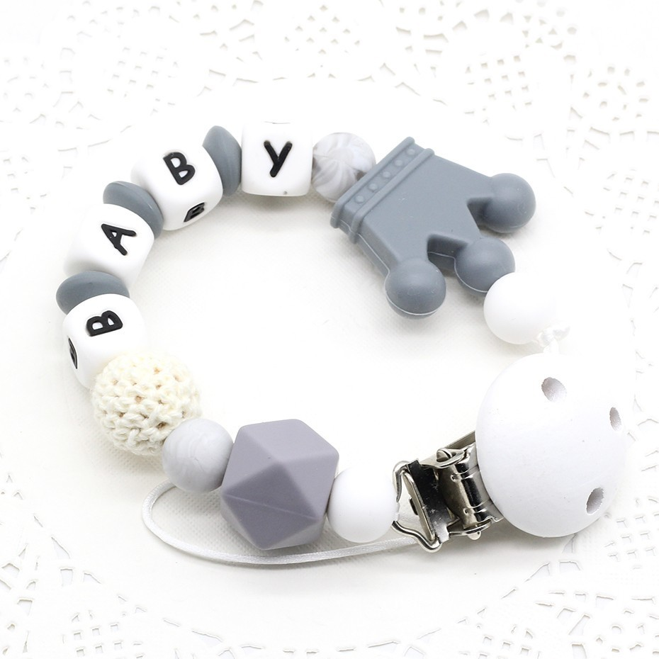 New Personalized  Pacifier Clips Dummy Clip Can Be Customized Name BPA Free Crown Silicone Beads Food Grade Silicone Hand Made