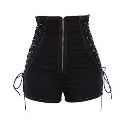 Women Shorts Casual Gothic Sexy Club Punk Hip Hop Straight Thin High Waist Plain Zipper Black Cool Female Summer Shorts