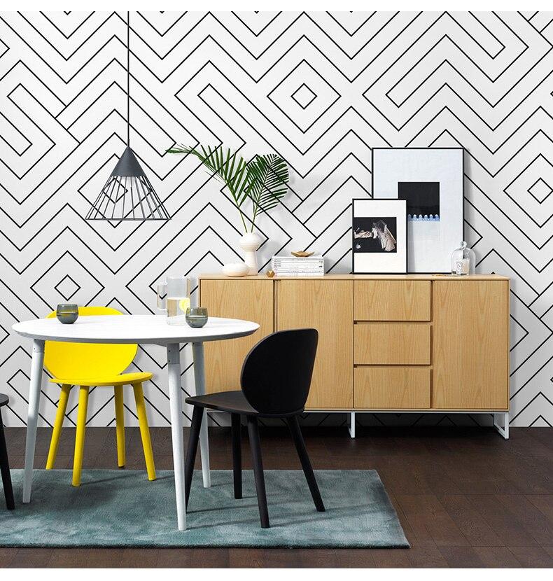 Style nordique papier peint mode salon chambre Simple moderne noir et blanc grille irrégulière ligne fond d'écran