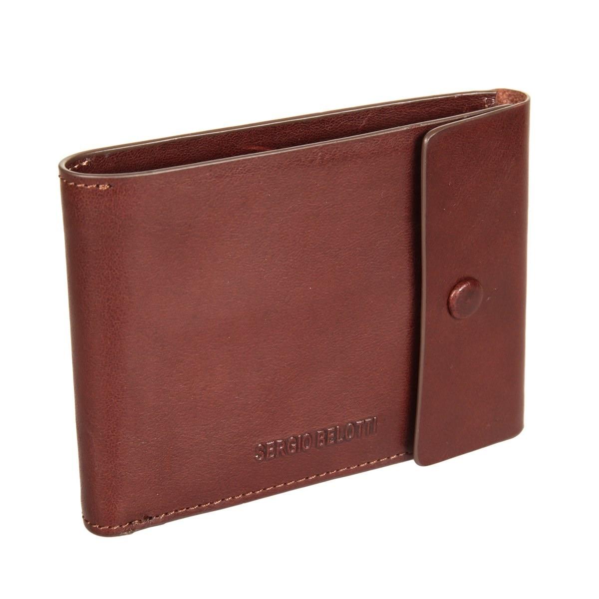 Coin Purse Sergio Belotti 3590A IRIDO Brown simple retro split leather coin purse w belt buckle brown