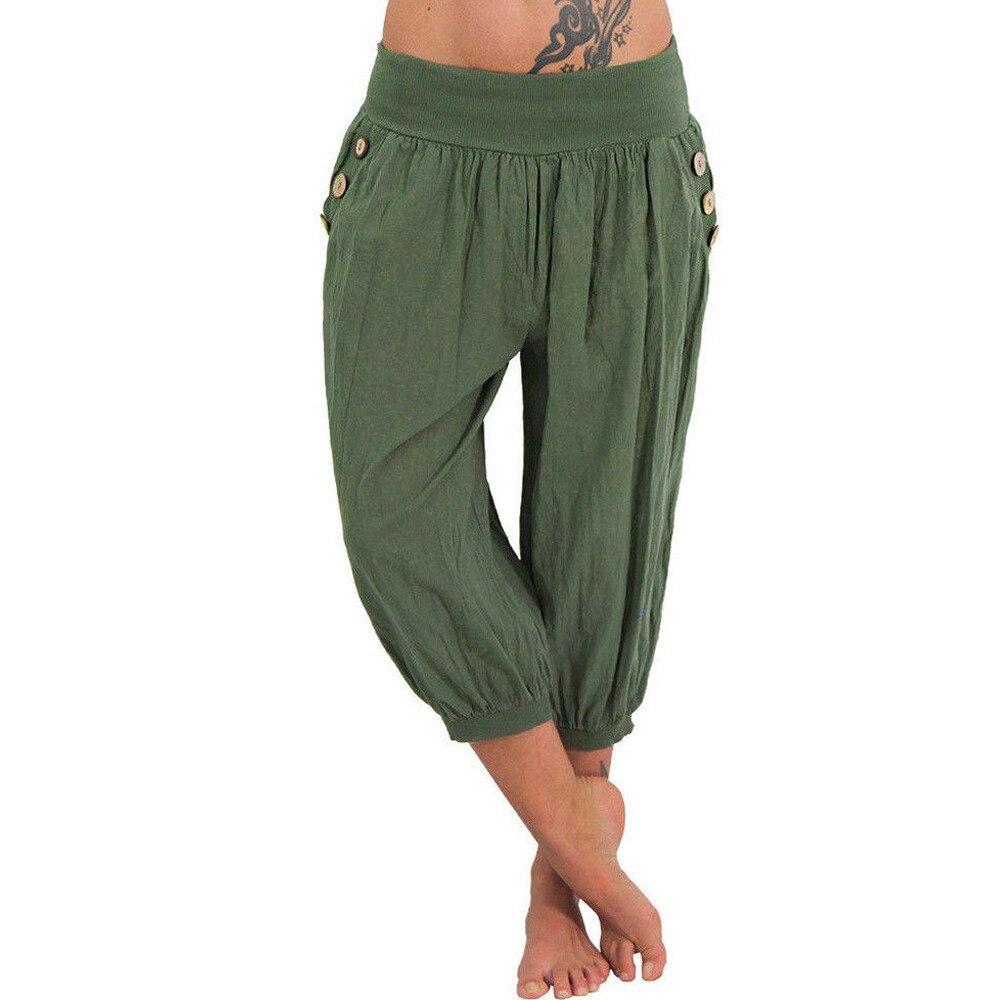 Boho   Pants   Elastic Waist Calf-length   Pants   Wide Leg Summer Harem Baggy   Pants   Women   Capris   Camo   Pants   Calca Feminina Spodnie