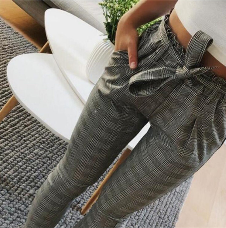 New 2018 Fashion Spring Vintage Gray Grid Casual   Pants   Women   Pants   Trousers Female Streetwear   Capris   Summer   Pants
