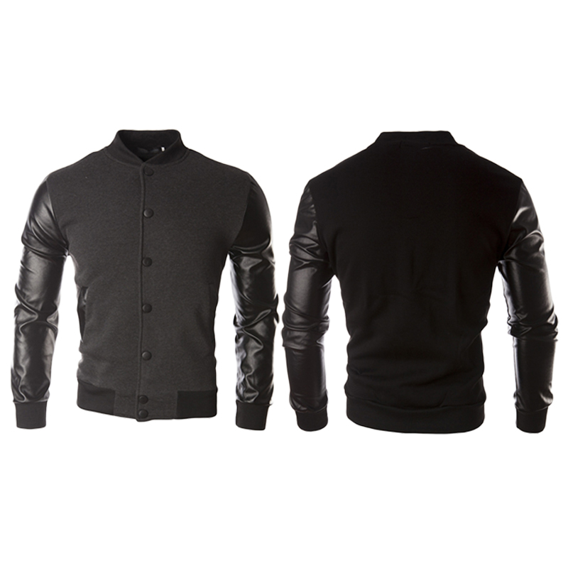 1pcs Men's Leather Jacket Men's Baseball Uniform Casual Tops Long Sleeves Careful Calculation And Strict Budgeting