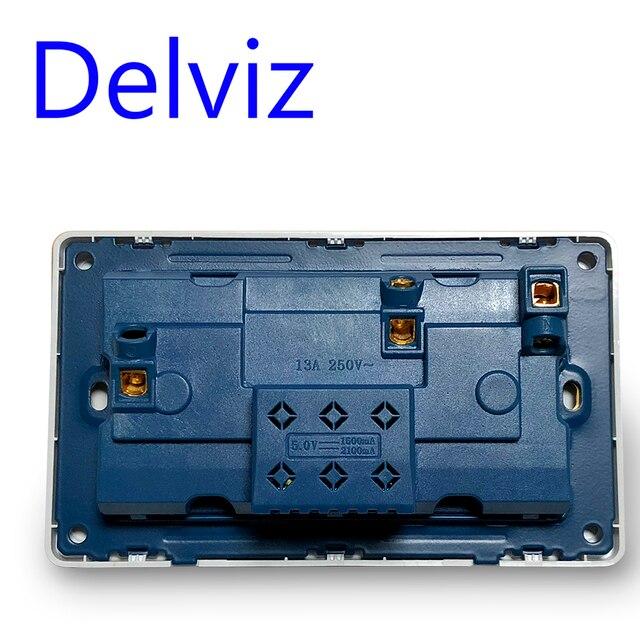 Delviz ścienne gniazdo zasilające uniwersalny 5 otworów, 2.1A podwójny Port ładowarki USB, 146mm * 86mm, wskaźnik LED, wielkiej brytanii standardowe USB włączony wylot