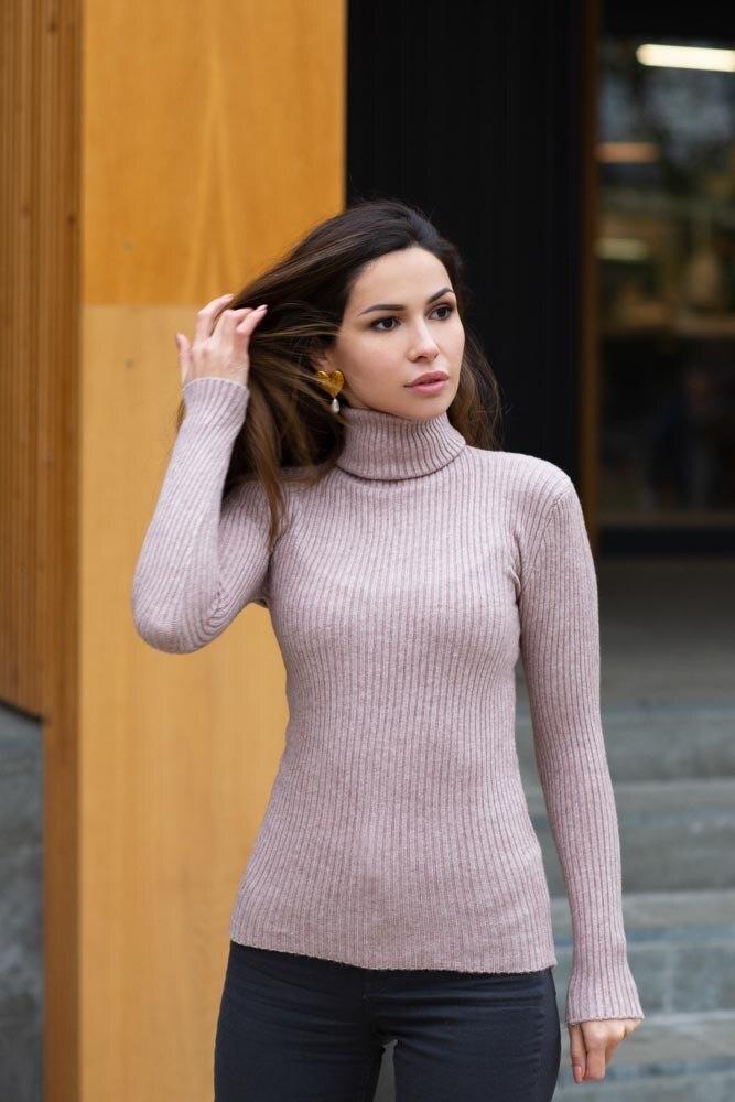 [Available with 10.11] Turtleneck. Color dark beige. turtleneck shift sweater dress