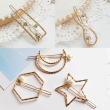Hot Simple Star Moon Women Hair Clips Accessories Geometric Round Pearl Hairpins Heart Barrettes