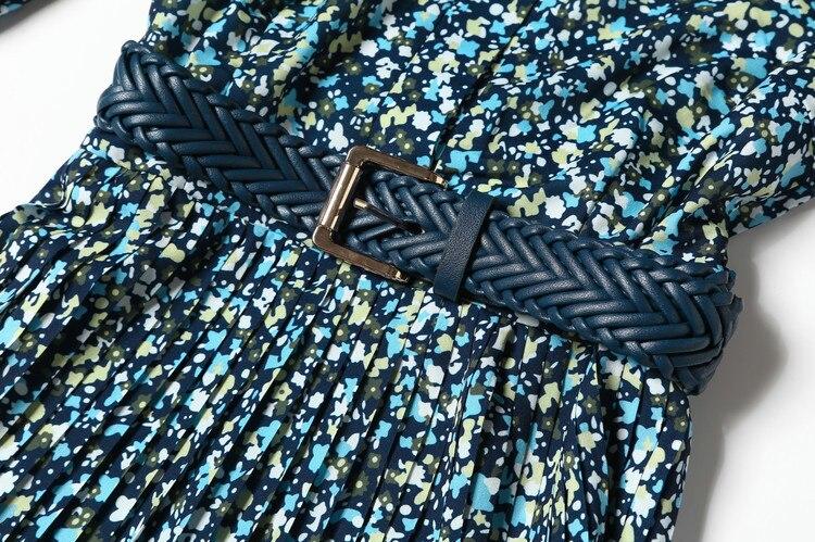 Las Manga Con Pequeño Decorativo De Plisado Imprimir Cuello Europeo Vestido Otoño 2018 Cinturón Soporte Nuevas Mujeres Principios Floral w6BqaPX