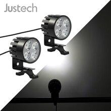 Justech 2 предмета 4 светодиодный s Универсальный мотоцикл, мотобайк, светодиодные спереди прожектор передняя фара лампа 12 24 V 12 V-85 V DC 12 Вт Светодиодный лампочки
