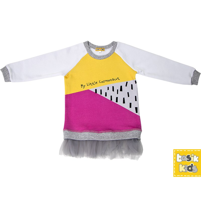 Basik Kids Dress sweatshirt combination christmas snowflake print long sleeve flocking sweatshirt