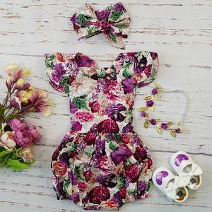 Newborn Infant Baby Girl Clothes Set Kids Purple Floral Vintage Romper Costume Photography Summer 2019 Cotton Jumpsuit For Baby
