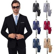 Robe de mariée pour hommes, costume formel noir, coupe Slim pour marié, Blazer, pantalon, veste de bal, 2 pièces