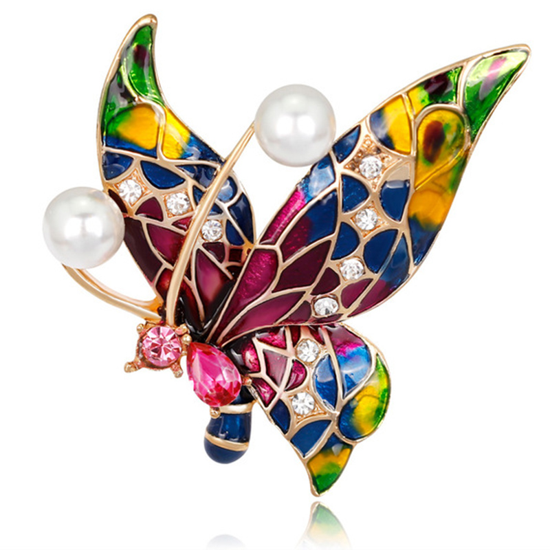 Exquisite Fashion Inlay Rhinestones Painted Insects Butterfly Corsage Classic Retro Enamel Hat Suit Robe Brooch makeup organizer box