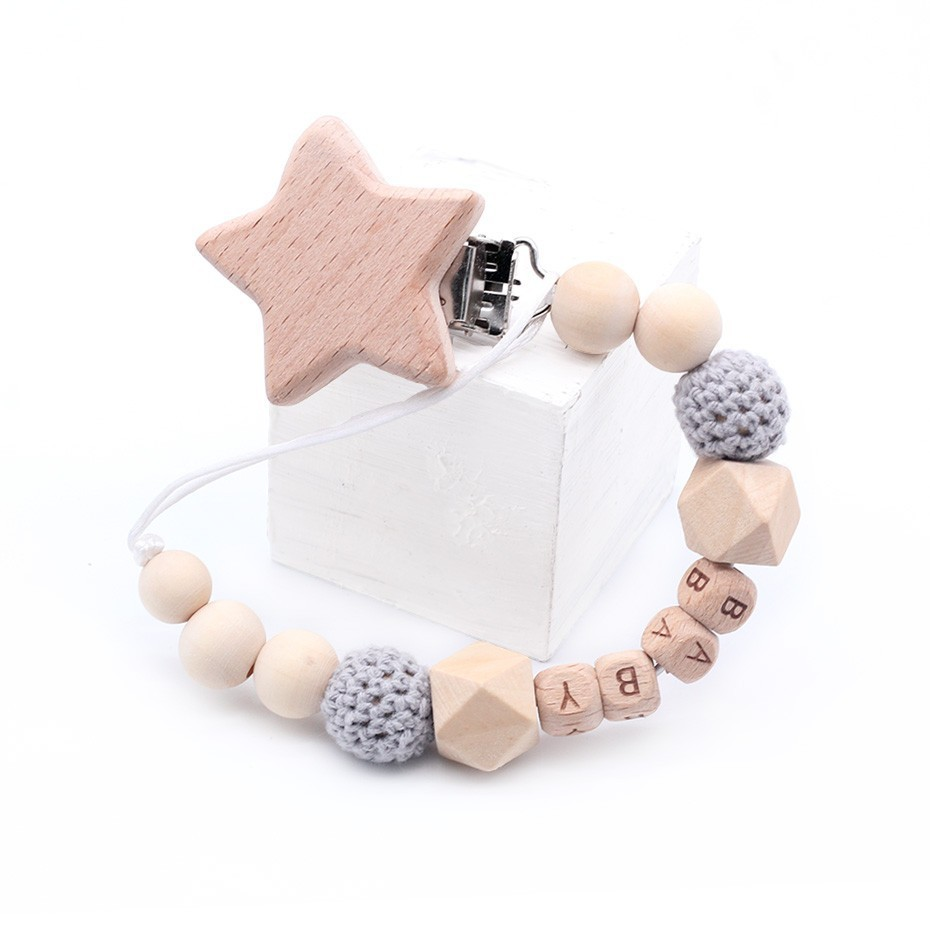 New Star Clip Crochet Beads Can Be Customized Name BPA Free DIY Baby   Pacifier Clips Newborn Essential Supplies Hand Made
