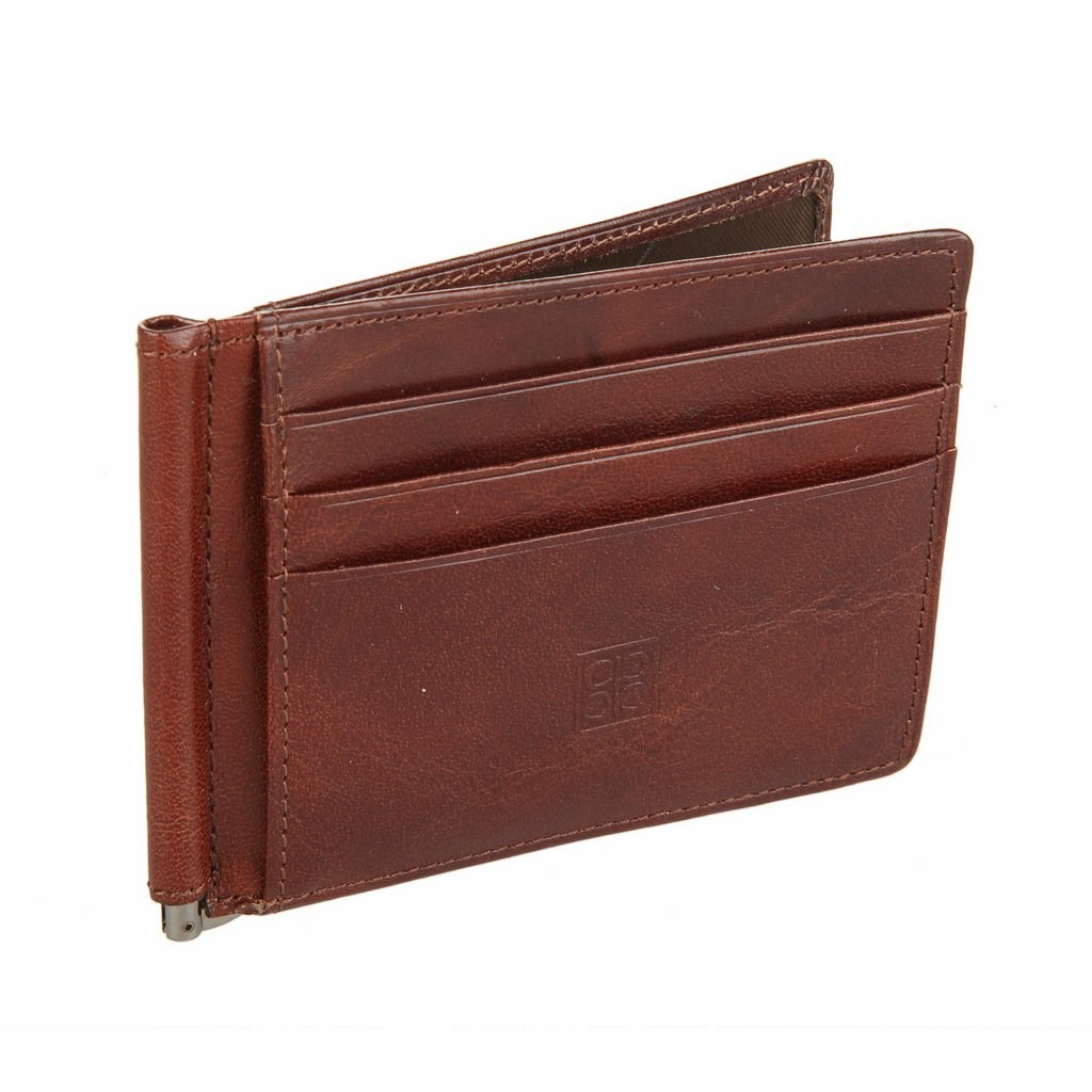 Coin Purse clip Sergio Belotti 2342 Milano Brown simline vintage genuine crazy horse cow leather men men s long hasp wallet wallets purse zipper coin pocket holder with chain