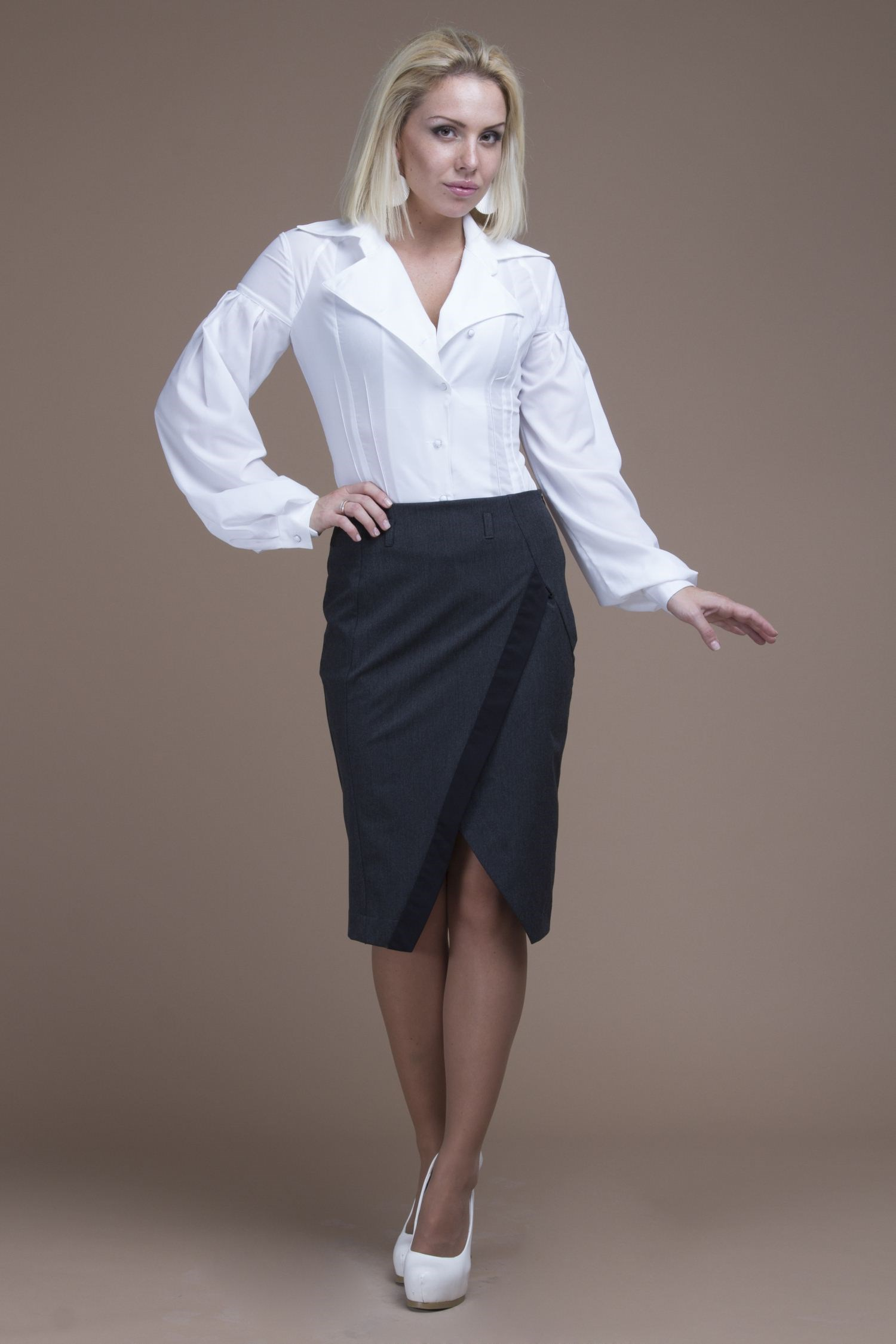 Office pencil skirt with decorative V-neck grid pattern v neck self tie design dress