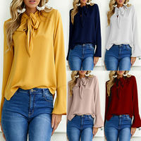 New Autumn Women Shirt Bell Sleeve V Neck Bowknot Loose Tops Blouse Wear To Work Top Office Lady Shirts Work Form Clothes