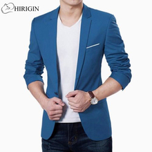 Mens Korean slim fit fashion cotton blazer Suit Jacket black