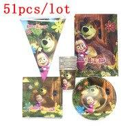 Одноразовые наборы посуды Маша и Медведь тема дизайн бумажные тарелки + чашки + салфетки + флажки для дня рождения поставки 51 шт./партия