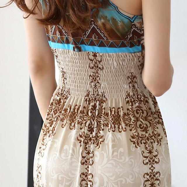 Summer Women Maxi Long Dress V- Neck Beach Printed Dress Women Sexy Sleeveless Bohemian Dress Vestidos 4