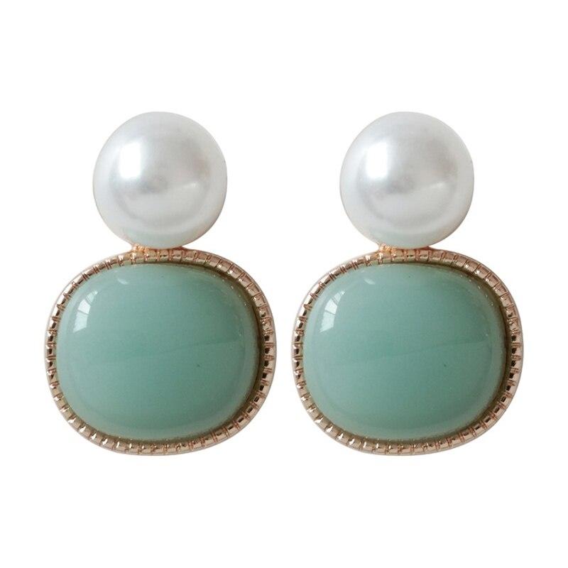 Venda simples suave oval pequenos brincos para mulher branco verde pedra brincos redondos moda jóias