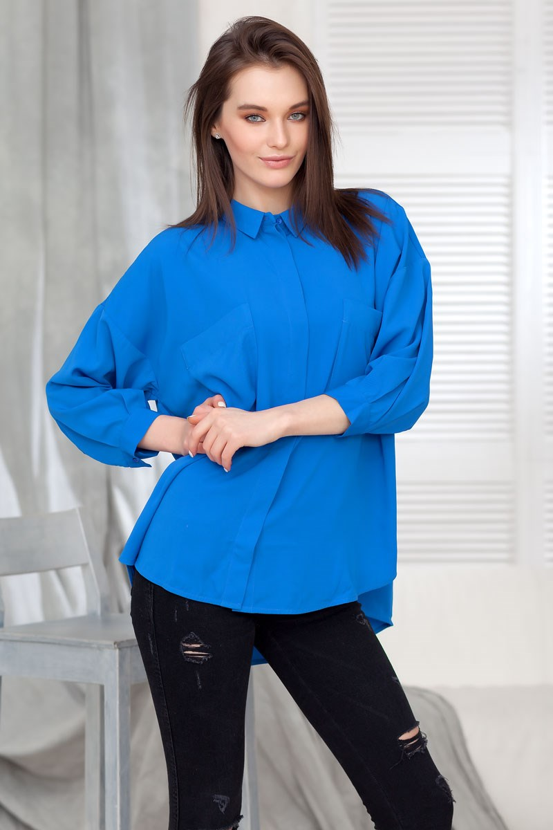 Blouse 1201200-21 ruffle trim tie neck chiffon blouse