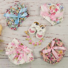 Baby Girls Cotton Shorts Headband Set Floral Print Ruffle Bow Knot Bloomer Diaper Cover For Newborn Toddler Pants Roupa De Bebe