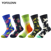 цена 5 pair/lot Novelty Men's Funny Dress Combed Cotton Socks Pigeon Bird & Lily Pattern Crew Casual Party Happy socks Breathable