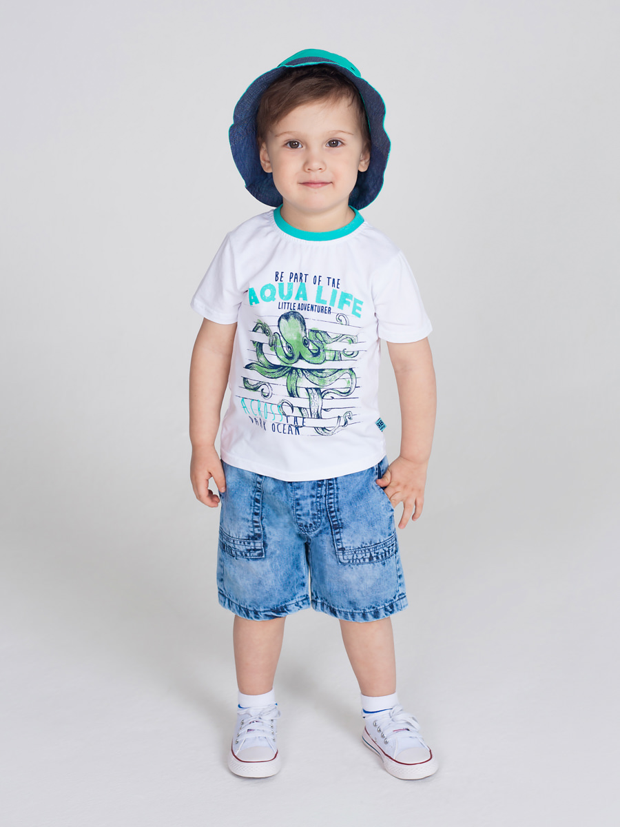 [Available with 10.11] denim shorts for boys lace panel hollow out top with shorts