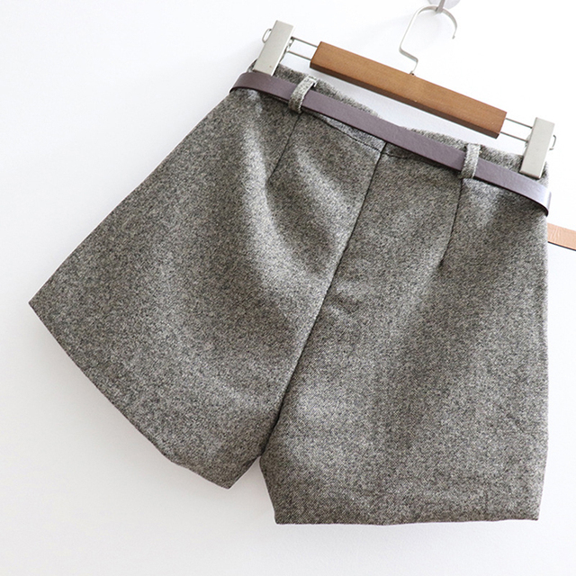 New Elegant Woolen Winter Slim Wide Leg Shorts 4