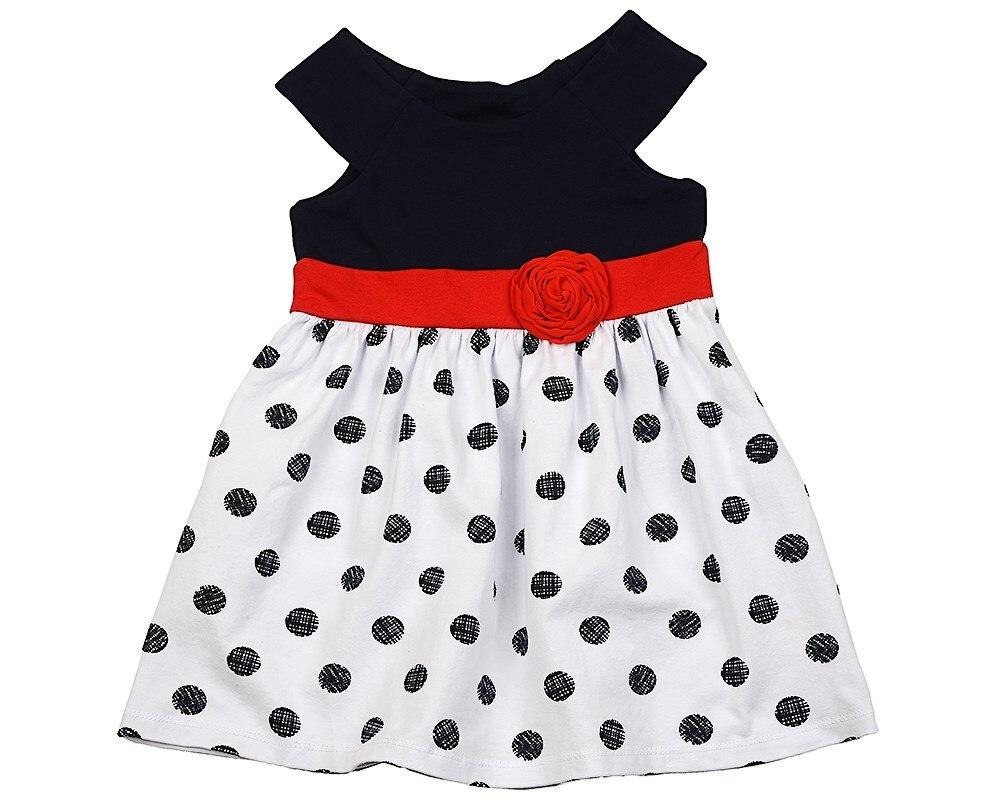 Dress dot 98 116 cm платья для девочки summer gtyle baby girl версия для печати flower dot girl dress for wedding girls party dress with bow dress for 4 8 years