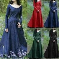 Womens Medieval Gothic Fashion Dress Long Party Fashion Womens Medieval Renaissance Gothic Party Halloween Costume Long Dress
