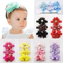 Fashion 3PCS/Set Colorful Flower Elastic Children Headband Ribbon Baby Headdress Bow Knot Hair Accessories