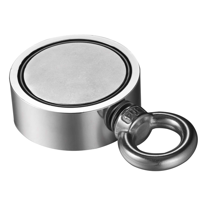 Hot Double Side Magnet Fishing,Combined 300Kg Pulling Force,60Mm Diameter,Super Strong Round Neodymium Fishing Magnet With Eye