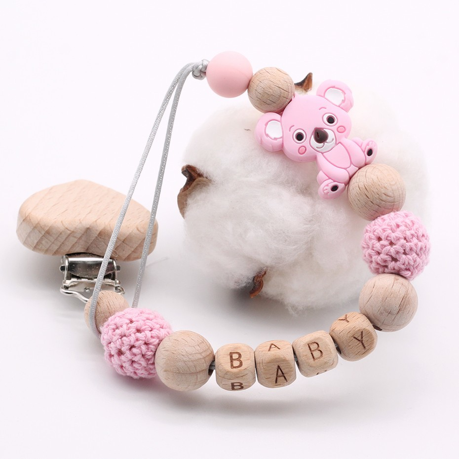 New Cute Cartoon Mini Koala Natural Wood Heart Clip DIY Baby Pacifier Clips Custom Name Hand Made Newborn Pacifier holder