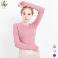 Long Sleeve Women Yoga Shirts with Thumb Hole Fitness Sports T shirts Girl Workout Seamless Gym Yoga Top Quick Dry Sportswear