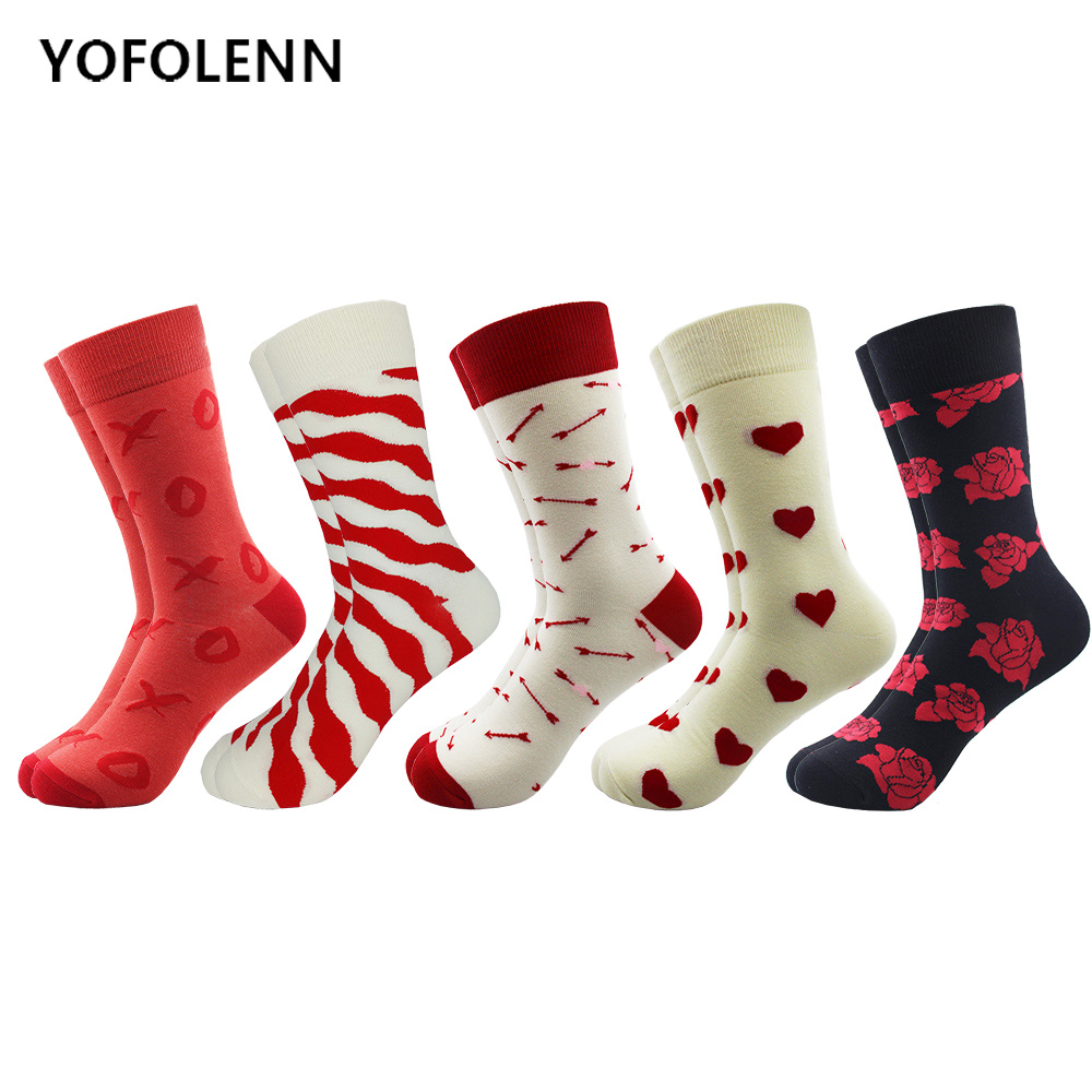 5 Pairs/lot Men's Colorful Novel Combed Cotton Socks Funny Classic Grid Rose Arrow Heart Pattern Dress Casual Crew Happy Socks