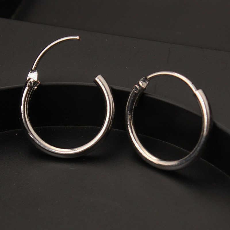 Hot 1 คู่สีดำเงินต่างหูผู้หญิงผู้ชาย Punk สแตนเลสรอบ Ear Stud 3 ขนาดเครื่องประดับขายส่ง