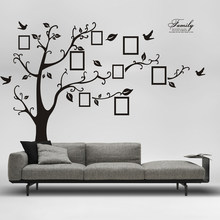 Negro 3D DIY foto árbol PVC pared calcomanías/Adhesivo de pared pegatinas Mural arte Decoración de casa(China)