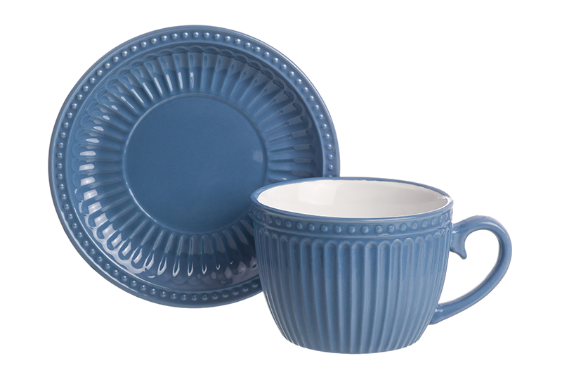 Available from 10.11 Cup with saucer for cappuccino and latte Pastel azure Elan Gallery 160037 saucer state