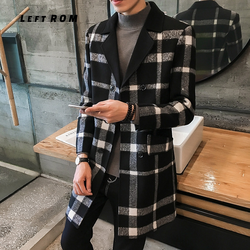 Autumn And Winter New Boutique Men's Casual Wool Coat Fashion Warm Youth Wild Large Size Solid Color Simple Loose Business(China)