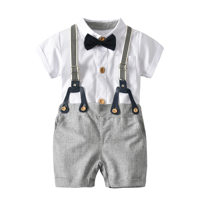 Summer Baby Boy Suit Gentleman Clothes White Shirt Party Formal Romper Bow +Belt Pants Infant Clothing Set For Newborn Outfit