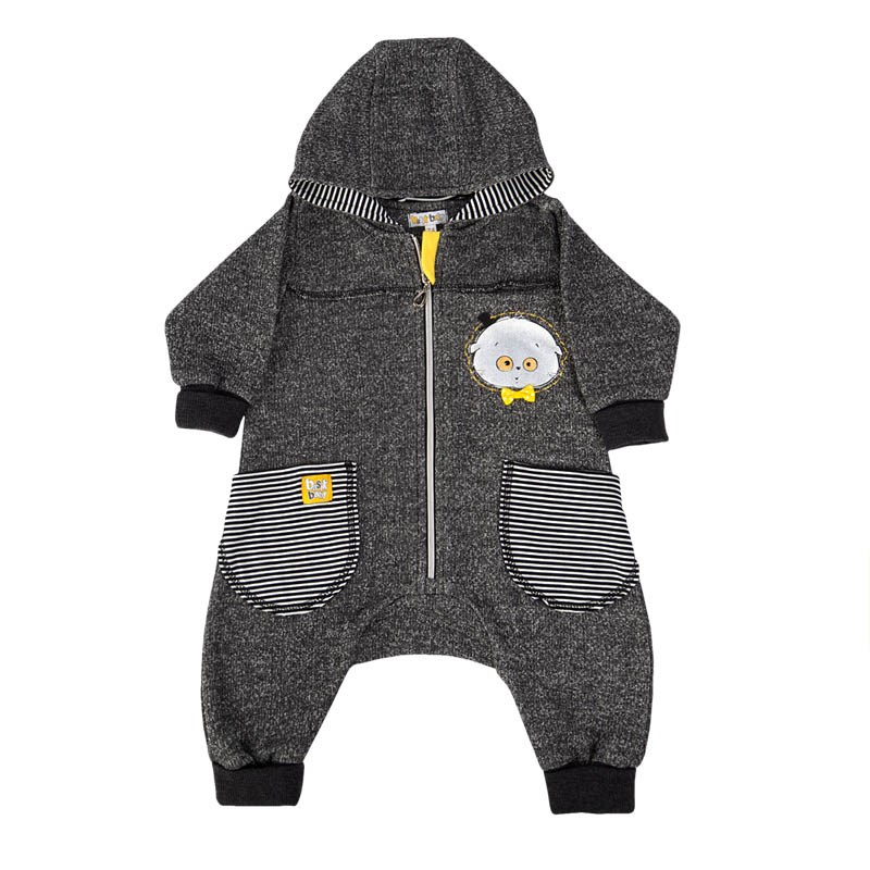 Jumpsuit with pockets Anthracite kids clothes children clothing kids clothes children clothing fuzzy cardigan sweater with pockets