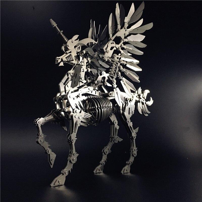 Grande Unicorn 3D Acciaio Metallo Mobilità Articolare Modello In Miniatura Kit di Giocattoli di Puzzle Per Bambini Ragazzo Splicing Hobby di Costruzione - 2