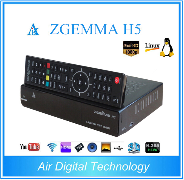 10pcs/lot Zgemma H5 Linux Enigma 2 Dual Core HEVC H 265 COMBO Receiver 1x  DVB-S2 + 1x DVB-T2/C satellite tv receiver