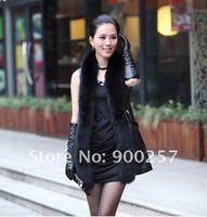 овца кожа длинная жилет с мех воротник черный платье и fs1192201100