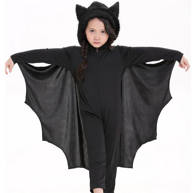 Adult and Kids Animal Cosplay Cute Bat Costume  Halloween  Black Jumpsuit Connect Wings Cosplay Batman CS28776
