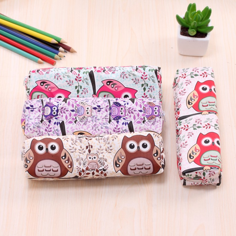 Lovely owl pencil case for school Cute PU Leather pen bag for girl Stationery pouch material office school supplies escolar