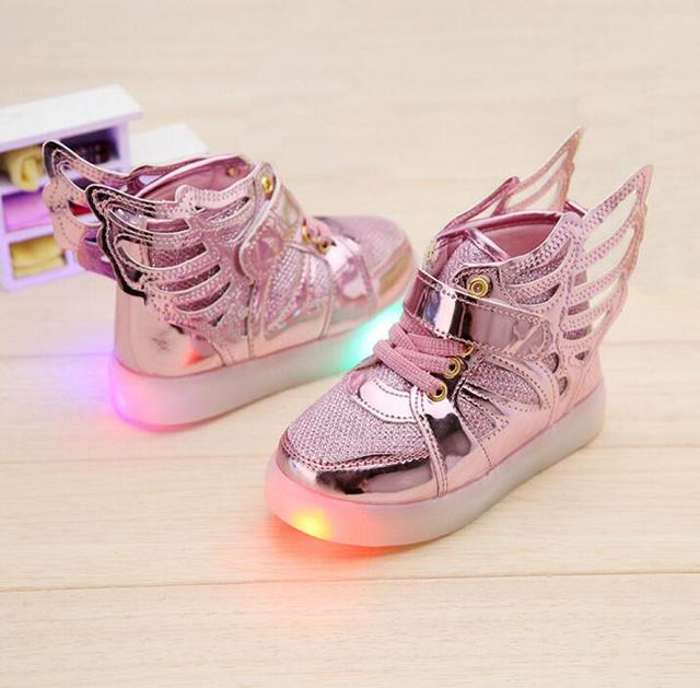 New 2016 European fashion LED light baby boots Cool casual lovely kids sneakers boys princess girls shoes cute baby shoes