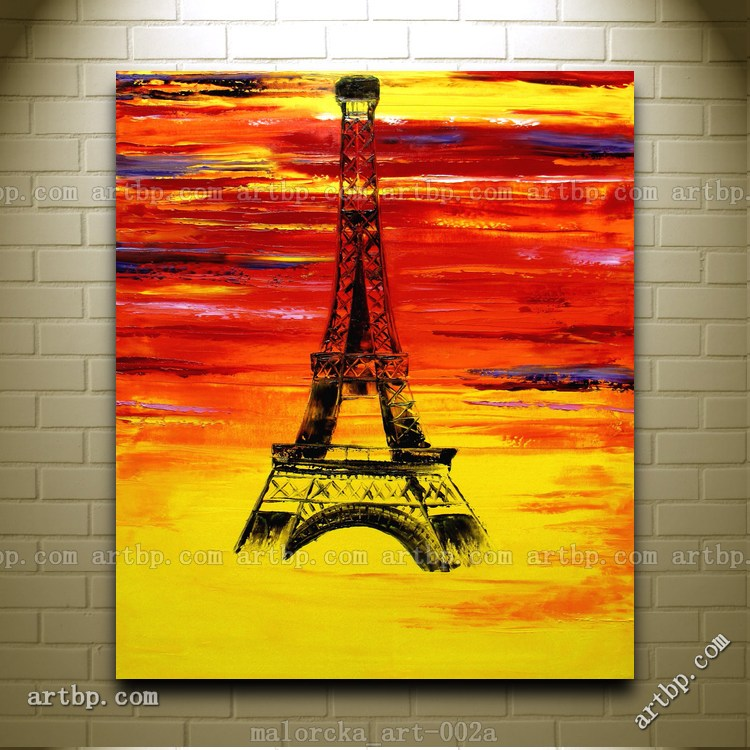Paris Colors Eiffel Tower France Europe Original Oil Painting Malorcka Abstract Art Paintings For Sale Huge Cheap Textured Ab In Calligraphy From