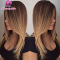 T # 4/27 ломбер у части парик шелковистая прямая виргинский бразильский у часть человеческих волос парики для чернокожих женщин средняя часть блондинка Upart парики